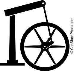 μικρό , ακτίνα , rotative, μηχανή