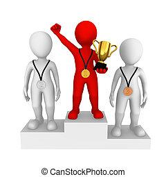 μικρό , ακόλουθοι. , κόκκινο , winner., 3d
