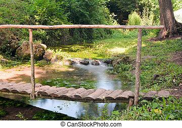 μικρό , γέφυρα , πάνω , ένα , νερό , ρυάκι