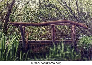 μικρό , γέφυρα , πάνω , ένα , ποτάμι