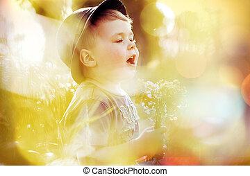μικρό , εικόνα , ευφυής , παιδί , χαριτωμένος
