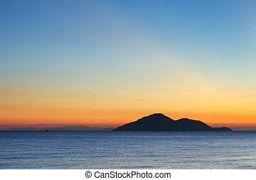 μικρό , θαλασσογραφία , ηλιοβασίλεμα , νησί