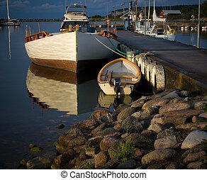 μικρό , λιμάνι , βάρκα