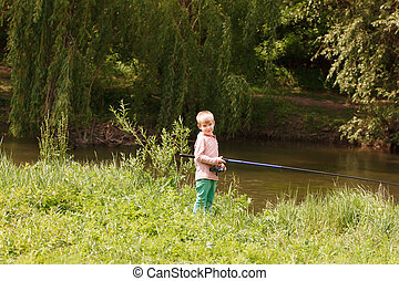 μικρό , χαριτωμένος , ποταμός αλιευτικός , αγόρι
