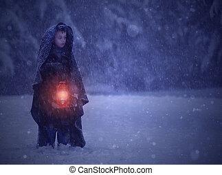 μικρό , storm., περίπατος , χιόνι , παιδί