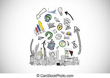 μικτός άγαλμα , από , δεδομένα , ανάλυση , doodles, πάνω , cityscape