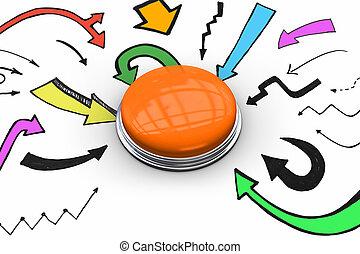 μικτός άγαλμα , σπρώχνω , πορτοκάλι , λαμπερός , κουμπί