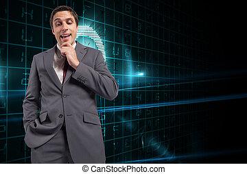 μικτός , χέρι , επιχειρηματίας , πηγούνι , εικόνα , προσεκτικός