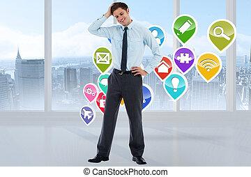 μικτός , χέρι , κεφάλι , επιχειρηματίας , εικόνα , προσεκτικός