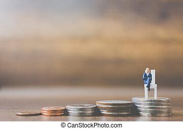 μινιατούρα , κέρματα , άνθρωποι , επιχειρηματίας