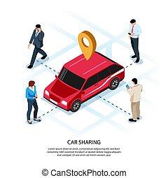 μοιρασιά , αυτοκίνητο , έκθεση , isometric