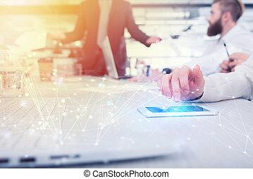 μοιρασιά , κινητός , επιχειρηματίαs γυναίκα , γενική ιδέα , τηλέφωνο. , interconnection , internet , εργοστάσιο