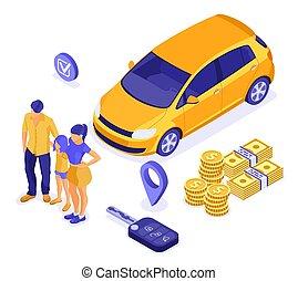 μοιρασιά , isometric , πώληση , αυτοκίνητο , αγοράζω , ενοίκιο
