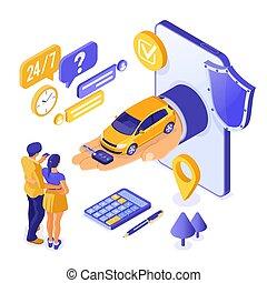 μοιρασιά , isometric , πώληση , αυτοκίνητο , αγοράζω , ενοίκιο , online