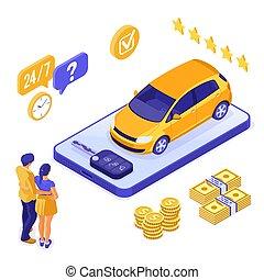 μοιρασιά , isometric , πώληση , αυτοκίνητο , online , ενοίκιο , ασφάλεια