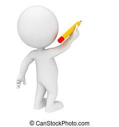 μολύβι , άσπρο , 3d , άνθρωποι