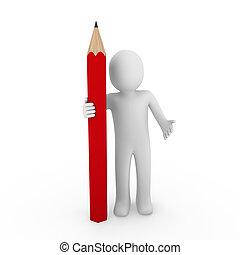 μολύβι , ανθρώπινος , κόκκινο , 3d