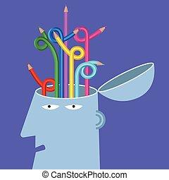 μολύβι , γενική ιδέα , είδηση , brain.background, τεχνητό , purple., σχεδιάζω
