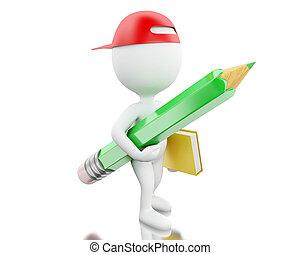 μολύβι , ιζβογις , άνθρωποι , concept., notebook., άσπρο , 3d