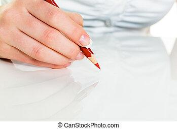 μολύβι , κόκκινο , χέρι