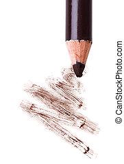 μολύβι , μάτι , δείγμα , μακιγιάζ , απομονωμένος , χτύπημα , macro , σκιά , άσπρο