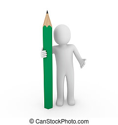 μολύβι , πράσινο , ανθρώπινος , 3d