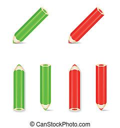 μολύβι , set., εικόνα , μικροβιοφορέας , πράσινο , red., εικόνα