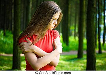 μοναχικός , γυναίκα , δάσοs