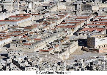 μοντέλο , από , αρχαίος , ιερουσαλήμ , ακριβής , επάνω , δυο , αρχοντικά