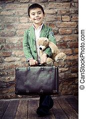 μοντέρνος , αγόρι , βαλίτσα