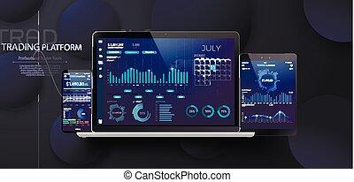 μοντέρνος , ανταλλαγή , κινητός , γραφική παράσταση , app , ετήσιος , graphs., infographic, σχεδιάζω , φόρμα , στατιστική , εβδομαδιαίος , smartphone, αγορά , στοκ