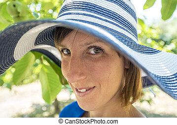 μοντέρνος , γυναίκα , καπέλο , φιλικά , όμορφη