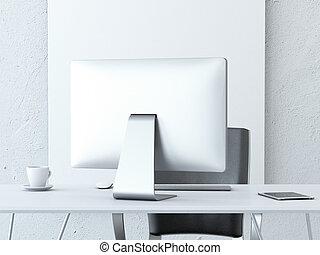 μοντέρνος , ηλεκτρονικός υπολογιστής , χώρος εργασίας , γραφείο