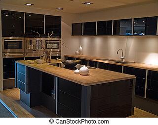 μοντέρνος , καθιερώνων μόδα , σχεδιάζω , μαύρο , ξύλινος , κουζίνα