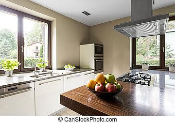 μοντέρνος , κουζίνα , με , ξύλινος , kitchentop