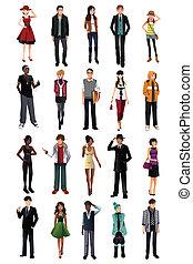 μοντέρνος , νέοι άνθρωποι , από , διαφορετικός , ethnicity