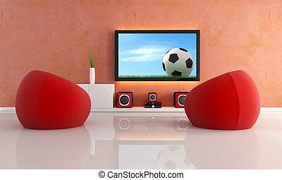 μοντέρνος , παιγνίδι , αναμονή , ποδόσφαιρο , καθιστικό