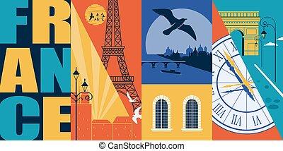 μοντέρνος , σχεδιάζω , παρίσι , στοιχείο , γαλλία , μικροβιοφορέας , εικόνα , ταξιδεύω , διαμέρισμα , γραμμή ορίζοντα , postcard., γραφικός