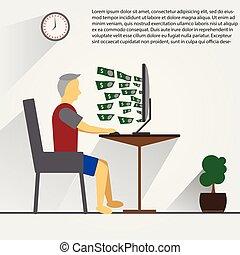 μορφή , αποκτώ , χρήματα , εργαζόμενος , time., internet , προσωπικό , ανήρ ηλεκτρονικός εγκέφαλος , πολοί , όλα