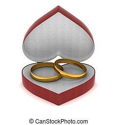 μορφή , δακτυλίδι , χρυσός , image., δικαίωμα παροχής αγωγή , heart., 3d