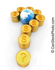 μορφή , ερώτηση , σήμα , δολάριο , χρυσός , σημαδεύω , κέρματα