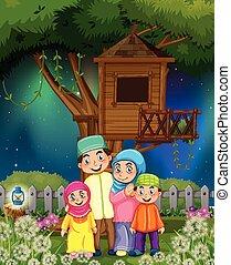 μουσελίνη , κήπος , οικογένεια , νύκτα