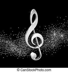 μουσική με υψίφωνο κλειδί , ασημένια