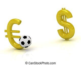 μπάλα , εναντίον , δολάριο , euro , ποδόσφαιρο