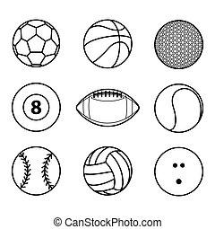 μπάλα , περίγραμμα , εικόνα , μικροβιοφορέας , μαύρο , συλλογή , αγώνισμα , εικόνα