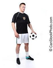 μπάλα , ποδόσφαιρο , απομονωμένος , παίχτης , κράτημα , άσπρο