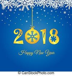μπάλα , χρυσός , εικόνα , 2018, έτος , καινούργιος , xριστούγεννα , ευτυχισμένος