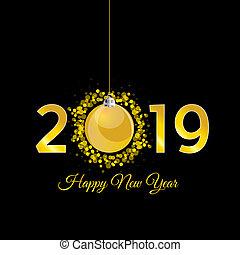 μπάλα , χρυσός , εικόνα , 2019, έτος , καινούργιος , xριστούγεννα , ευτυχισμένος