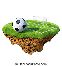 μπάλλα ποδοσφαίρου , επάνω , πεδίο , κύρωση ακτίνα , και , τέρμα , βάση , επάνω , μικρός , planet., γενική ιδέα , για , ποδόσφαιρο , αθλητηκή πρωτεία , λεύγα , ζεύγος ζώων , design., μικροσκοπικός , νησί , /, πλανήτης , collection.