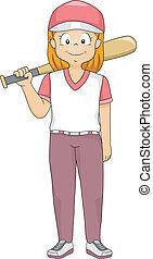 μπέηζμπολ , κορίτσι , κλίση τοίχου
